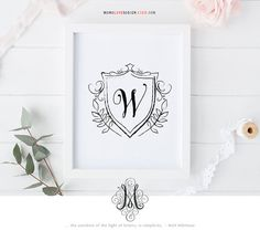 This is a printable customizable monogram design perfect for wedding monogram design, personal monogram logo, family crest design, birthday gift, personal wall art, nursery decor or baby shower gifts. Please review the following before placing your order.  Size: 8x 10 Format: JPG + PDF  When placing your order, please choose from the drop down - the NUMBER of letters in one of the five font options (as shown above).  The default color is black, or you may choose your own color(s) for $5…