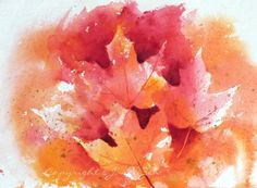 painted leaves | ... Watercolor and Oil Paintings: Autumn Maple Leaves watercolor painting