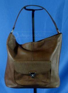 "Banana Republic Cow Brown Leather Purse Bucket bag,  13"", 9"" Shoulder Bag #BananaRepublic #BucketbagShoulderBag"