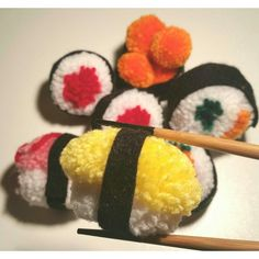 www.puckerpompoms.etsy.com  Handmade Pom Pom Sushi get yours now from the link above!