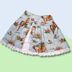 Little girl's cowgirl skirt --easy to make --has darling tiered eyelet lace under skirt.