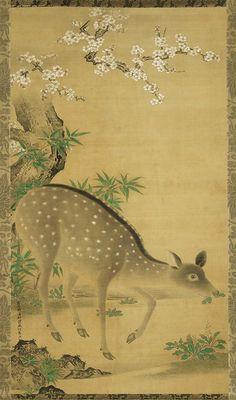Deer and Cherry Tree Shika zu.  Japanese , 1667 by  Kano Tan'yû