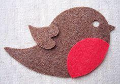 x6 FELT - ROBIN bird die cuts Christmas ornaments Bunting Decorations appliqués