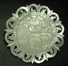 Antique Carved Iridescent Shell Button w/ Gorgeous Pierced Floral Design