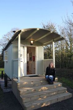 Ruth happy with her shepherd's hut rental accomodation Small Tiny House, Tiny House Living, Tiny House Design, Cabana, Garden Huts, Gypsy Home, Shepherds Hut, She Sheds, Garden Office