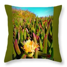 Throw Pillow featuring the photograph Freeway Iceplant by Dora Hathazi Mendes #throwpillow #homedecor #dorahathazi
