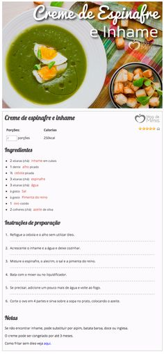 creme de inhame e espinafre do Blog da Mimis - Sopinha no inverno é tudo de bom! Com poucas calorias e super nutritiva. Real Food Recipes, Vegetarian Recipes, Healthy Recipes, Cooking Recipes, Sopas Low Carb, Gourmet Salt, Bariatric Recipes, English Food, Foods With Gluten