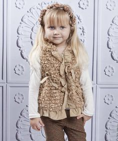 Another great find on #zulily! Beige Faux Fur Ruffle Vest - Toddler & Girls by Mia Belle Baby #zulilyfinds