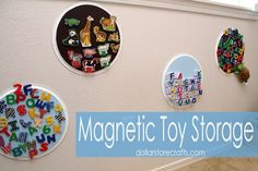 DIY on-the-wall storage for your kid's magnetic toys using dollar-store pizza pans. | 26 Useful Dollar-Store Finds Every Parent Should Know About