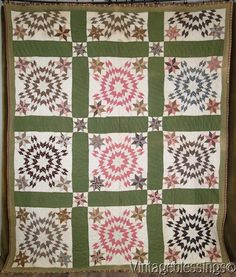 "$795 Gorgeous! c1870 ANTIQUE Stars Upon Stars QUILT Great Fabrics 90x75"" www.Vintageblessings.com"
