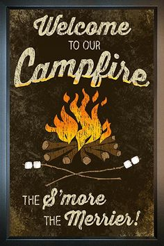 Reflective Art Welcome to Our Campfire Reverse Box Top Art, x Rustic Lodge Decor, Box Tops, Wood Art, Merry, Fire, Pop, Friends, Summer, Amigos