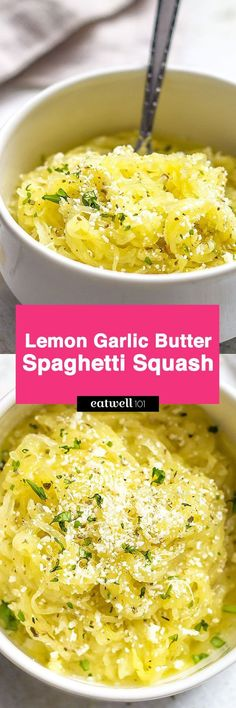 "Lemon Garlic Butter Spaghetti Squash — Cut down on carbs, not comfort, with this veggie-loaded ""pasta"" dinner. Baked spaghetti squash strands are tossed with a fragrant lemon garlic butter sauce an… paleo dinner spaghetti squash"