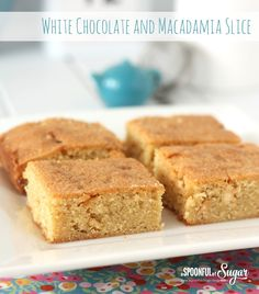 White Chocolate and Macadamia Slice Recipe by A Spoonful of Sugar