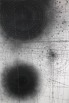 Emma McNally - Carbon Sound Field - A drawing style which fuels the complex mark-making of her large works in graphite on paper. She also works on a small scale, layering tissue paper and pouncing holes in the surface. 'I like graphite's materiality: its mess and dirt as well as its capacity to leave the cleanest, sharpest percussive marks and lines. I feel like I'm forging land formations when I use it, or scattering particles, or spiralling vortices of smoke and water""