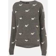 Topshop 'Hearts & Arrows' Sweater Grey 6 ($80) ❤ liked on Polyvore