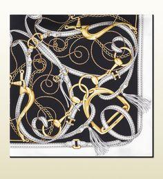 #gift Gucci sciarpa in twill di seta con stampa equestrian nero, giallo