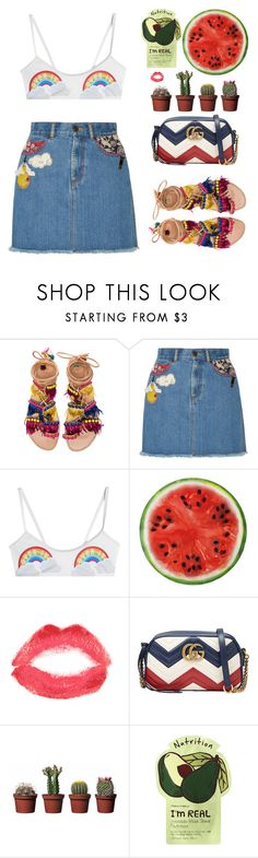 """""""Bright Sunshine by the Beach"""" by imiliebabe ❤ liked on Polyvore featuring Elina Linardaki, Marc Jacobs, Zoe Karssen, Round Towel Co., Topshop, Gucci and Charlotte Russe"""