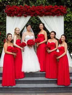 Romantic Wedding Filled with Red Roses and Gold Details Bridesmaid Dresses red bridesmaid dresses Red Bridesmaids, Red Wedding Dresses, Classic Wedding Dress, Wedding Bridesmaid Dresses, Wedding Gowns, Romantic Dresses, Making A Wedding Dress, Red Bouquet Wedding, Big
