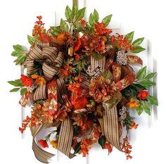Fall Deco Mesh Wreath, Front Door Fall Wreaths, Fall Hydrangea Wreaths, Orange Wreath, Poppy Wreath, Large Wreath, Brown Wreath, Elegant for $110.00 by Kayla's Kreations!     www.kaylaskreationstx.etsy.com