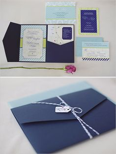 navy wedding invite