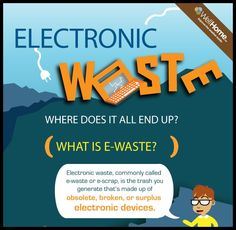 Electronic Waste Where Does it All End Up [Infographic]  - Antimony, arsenic, Barium, berylium, Cadmium, cellphones, Chromium, desktop computer, dioxins, dvd, dvd player, e-waste, electronics toxins, laptops, Lead, Material, Mercury, mobile phone, Nickel, portbale music player, printer, television, toxins, video cameras, waste, wastewater, www.wellhome.com
