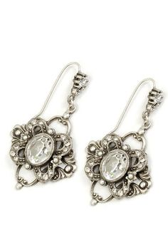 Jewelry by Sweet Romance Crystal Laurelle Earrings - Unique Vintage - Prom dresses, retro dresses, retro swimsuits.