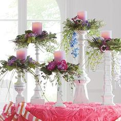 Floral Candle Setting (links to retail site selling the candlesticks but I love the look of the floral with the candles - on any candlesticks)