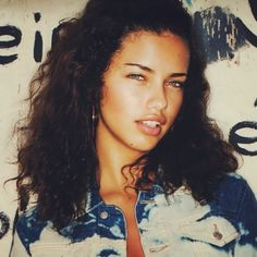 """theyloveadrianalima:  """"Adriana Lima with her natural hair  """""""