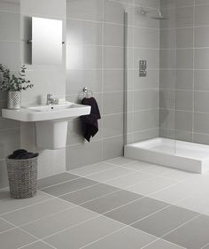 white and grey bathroom floor tiles Grey Bathroom Floor, Gray And White Bathroom, Grey Bathrooms, Bathroom Flooring, Bathroom Wall, Modern Bathroom, Small Bathroom, Tiled Bathrooms, Bathroom Tiling
