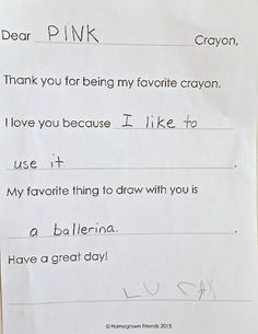 example of The Day the Crayons Quit Writing Activity
