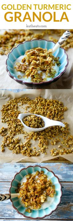 Golden Turmeric Granola - a delicious, simple granola with slight sweetness from honey, subtle turmeric spice, a touch of salt. The perfect breakfast staple! #turmeric #granola #homemadegranola #breakfast