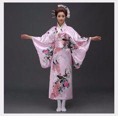 Retro Japanese Traditional Yukata Cosplay Peacock Kimono Robe Geisha Dress Obi H Kimono Geisha, Traditioneller Kimono, Japanese Kimono Dress, Japanese Yukata, Japanese Geisha, Japanese Costume, Vintage Party Dresses, Party Dresses For Women, Vintage Outfits
