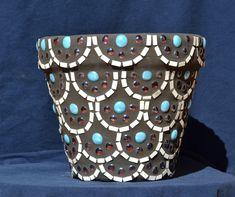 Mosaic Flower Pots - Scallop Design - set of 2. $95.00, via Etsy.