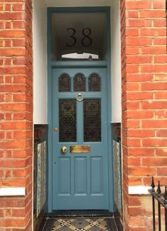 From aqua, navy, cerulean, to true-blue – what can you do with your front door? Having a blue front door will add a unique touch to y… Cottage Front Doors, Victorian Front Doors, Front Door Porch, Exterior Front Doors, House Front Door, Vintage Doors, Antique Doors, House Doors, Orange Front Doors