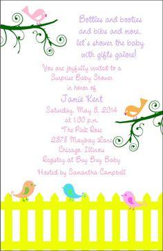 Cute Bird Baby Shower Invitation Boy/Girl