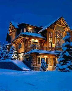 Snowy night dream mountain retreat