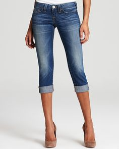 True Religion Jeans - Lizzy Crop Jeans in Short Fuse Wash Women - Jeans & Denim - Bloomingdale's Jeans With Heels, Love Jeans, Jeans Style, Jeans Pants, Shorts, Fast Fashion, Cute Fashion, Jeans Fashion, Women's Fashion