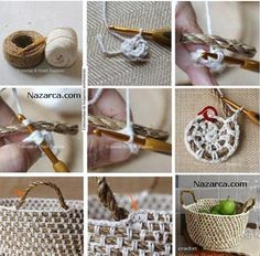 diy crochet rope basket --make sure to chain in between sc's (enough to match the length of rope in between), increasing number of chains as the diameter increases in size. Crochet Diy, Crochet Gratis, Crochet Rope, Crochet Basics, Tutorial Crochet, Yarn Projects, Crochet Projects, Knitting Patterns, Crochet Patterns
