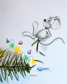 Time to say goodbye to the Christmas Tree!!  But be careful guys!  ------------------------------------------------ #apredart #rikiki #mouse #cute #fun #christmastree #pinetree #art #fun #funart #artshare #sharingart #artnerd #instaart #illustrate #nawden #artist #arts_secret #arts_gallery #arts_help #worldofartists #worldofpencils #daily_art #sketch_daily #drawing #cartoon #