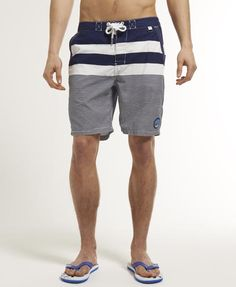 Mens - Beach Hut Shorts in Big Top Stripe Blue | Superdry