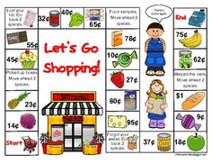 """Money activities: FREE """"Let's Go Shopping! Teaching Money, Teaching Math, Teaching Ideas, Fun Math, Math Games, Maths, Counting Money Games, Money Games For Kids, Counting Coins"""
