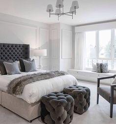 Dark Gray Bedroom, Bedroom Designs, White Bedding, Houzz, Bedroom  Decorating Ideas, Room Kitchen, Dream Rooms, Mansion, Chandelier