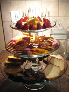 Stackable glass platters make for a nice party tray presentation.