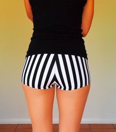 Black and White Ref Stripe Roller Derby Shorts by HellcatClothing