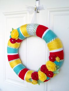 Summer wreath. Love this, especially with these exact colors, which are the autism awareness colors