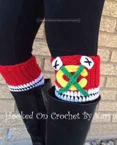 Chicago Blackhawks Crochet Boot Cuffs by HookedOnCrochetKaryn on Etsy
