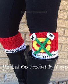 Chicago Blackhawks Crochet Boot Cuffs by HookedOnCrochetKaryn on Etsy