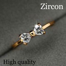 Áustria cristal CZ anéis de diamante banhado a ouro dedo arco casamento anel de noivado Zircon anéis de cristal mulheres de jóias por atacado(China (Mainland))