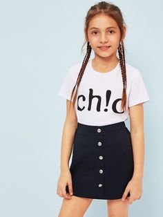 tee shirt and skirt on lined Preteen Girls Fashion, Kids Outfits Girls, Cute Girl Outfits, Girls Fashion Clothes, Cute Outfits For Kids, Teen Fashion Outfits, Cute Casual Outfits, Cute Summer Outfits, Kids Fashion