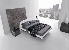 minimalist bed design for bedroom decoration in black and white. Black Master Bedroom, White Bedroom Design, Minimal Bedroom, Master Bedroom Interior, Modern Bedroom Furniture, Home Bedroom, Bedroom Ideas, Bedroom Designs, Serene Bedroom